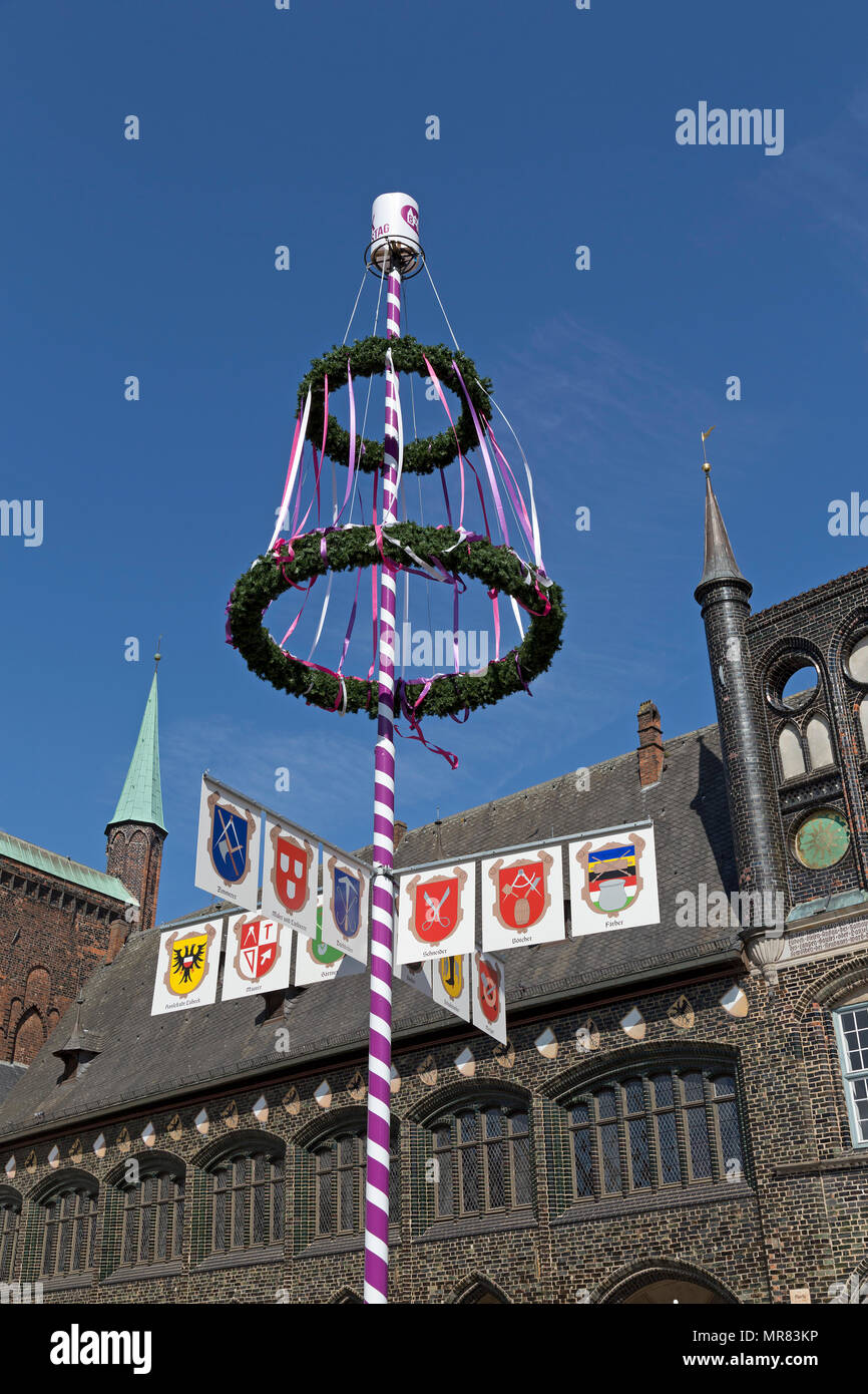 maypole in front of the town hall, Luebeck, Schleswig-Holstein, Germany - Stock Image