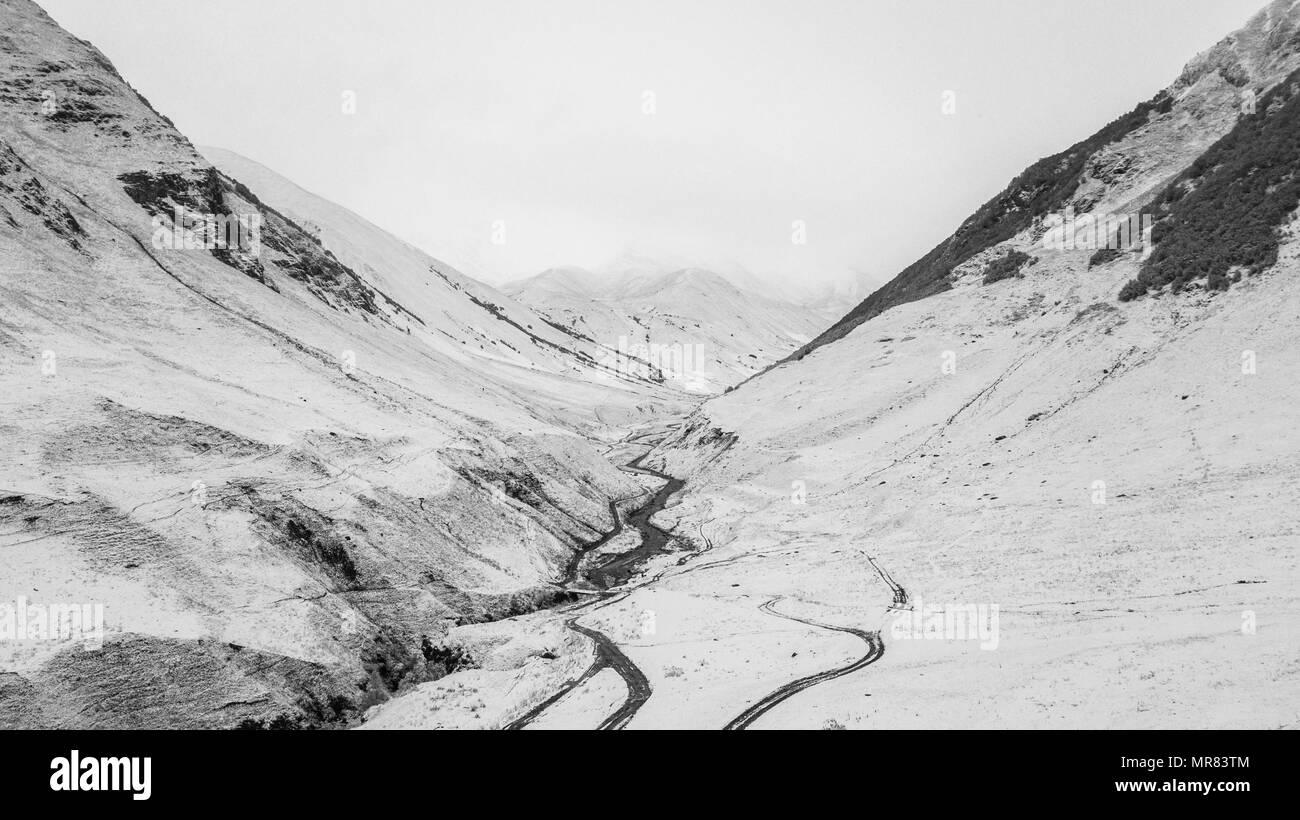 Snow mountain in Ushguli - Stock Image