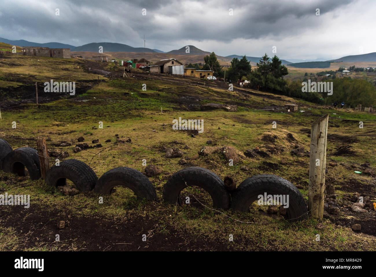 A homestead near Semonkong, Lesotho - Stock Image