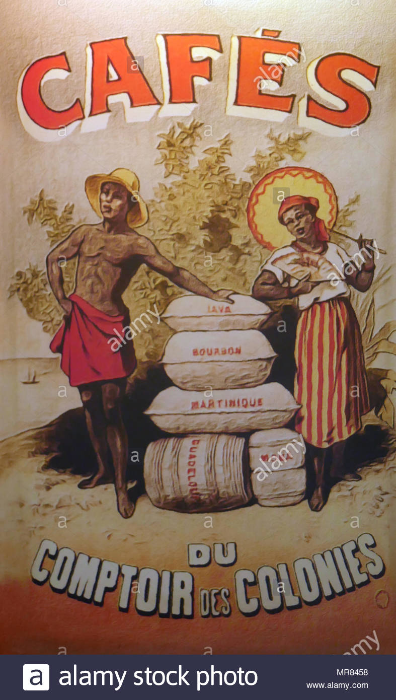 Advert circa 1890 for imported coffee from the French colonies. - Stock Image