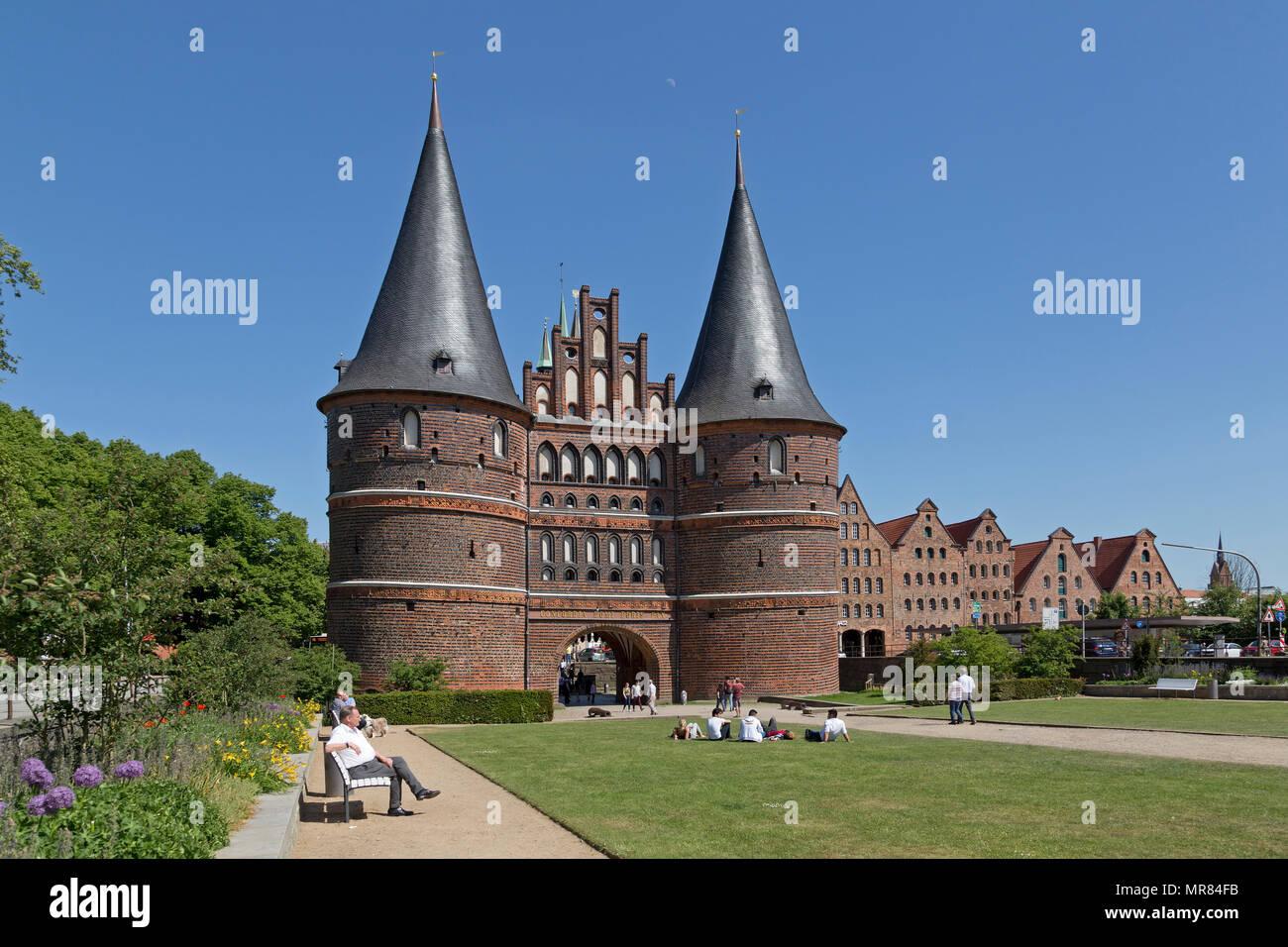 Holsten Gate and Salt Stores, Luebeck, Schleswig-Holstein, Germany - Stock Image