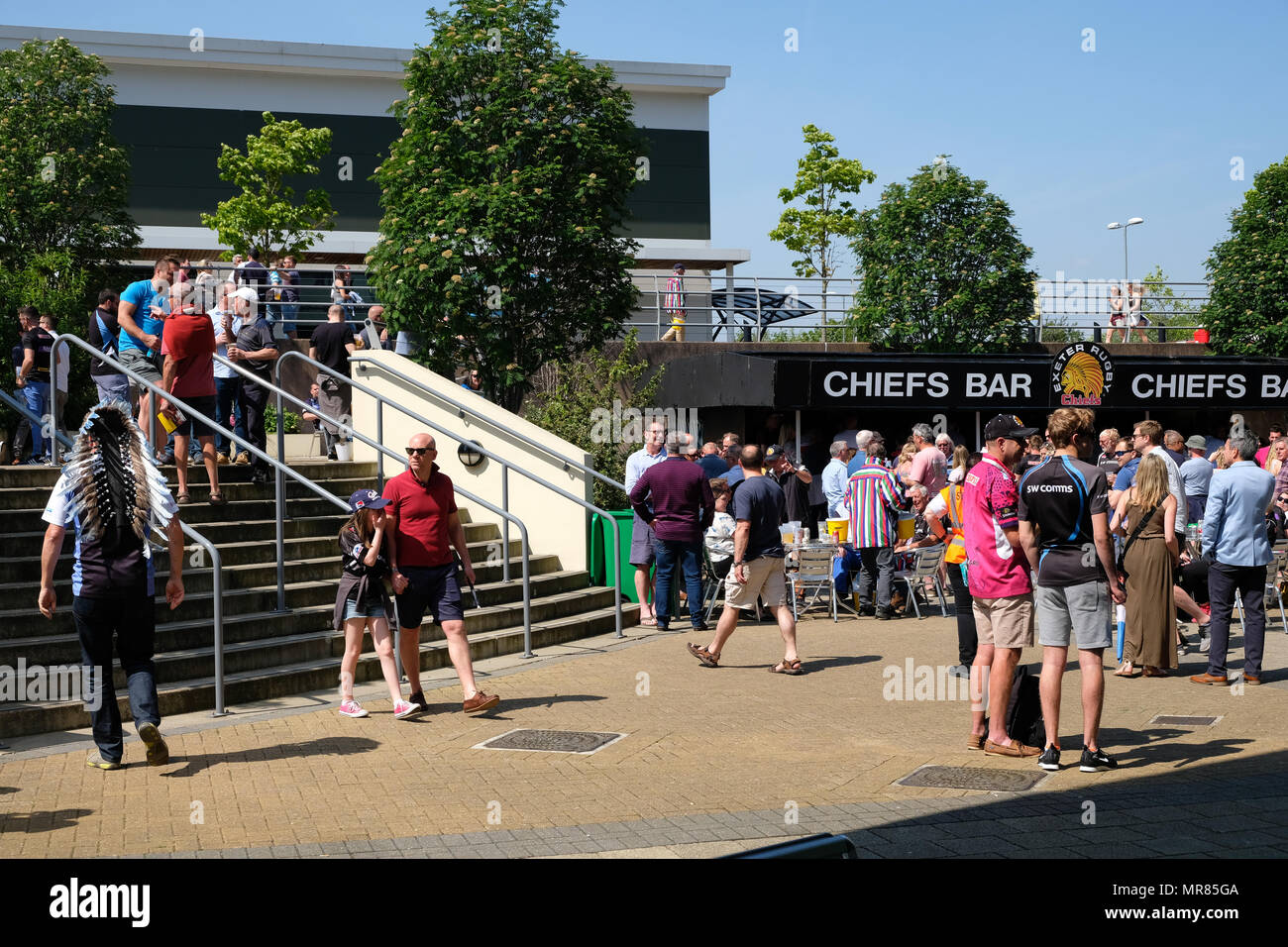 Exeter, Devon, UK - May 19th 2018: Exeter Chiefs and Newcastle Falcons fans attend the Aviva Premiership semi-final match at Sandy Park in Exeter,UK - Stock Image