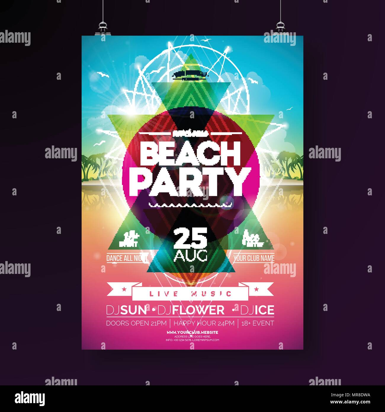 vector summer beach party flyer design with typographic elements and