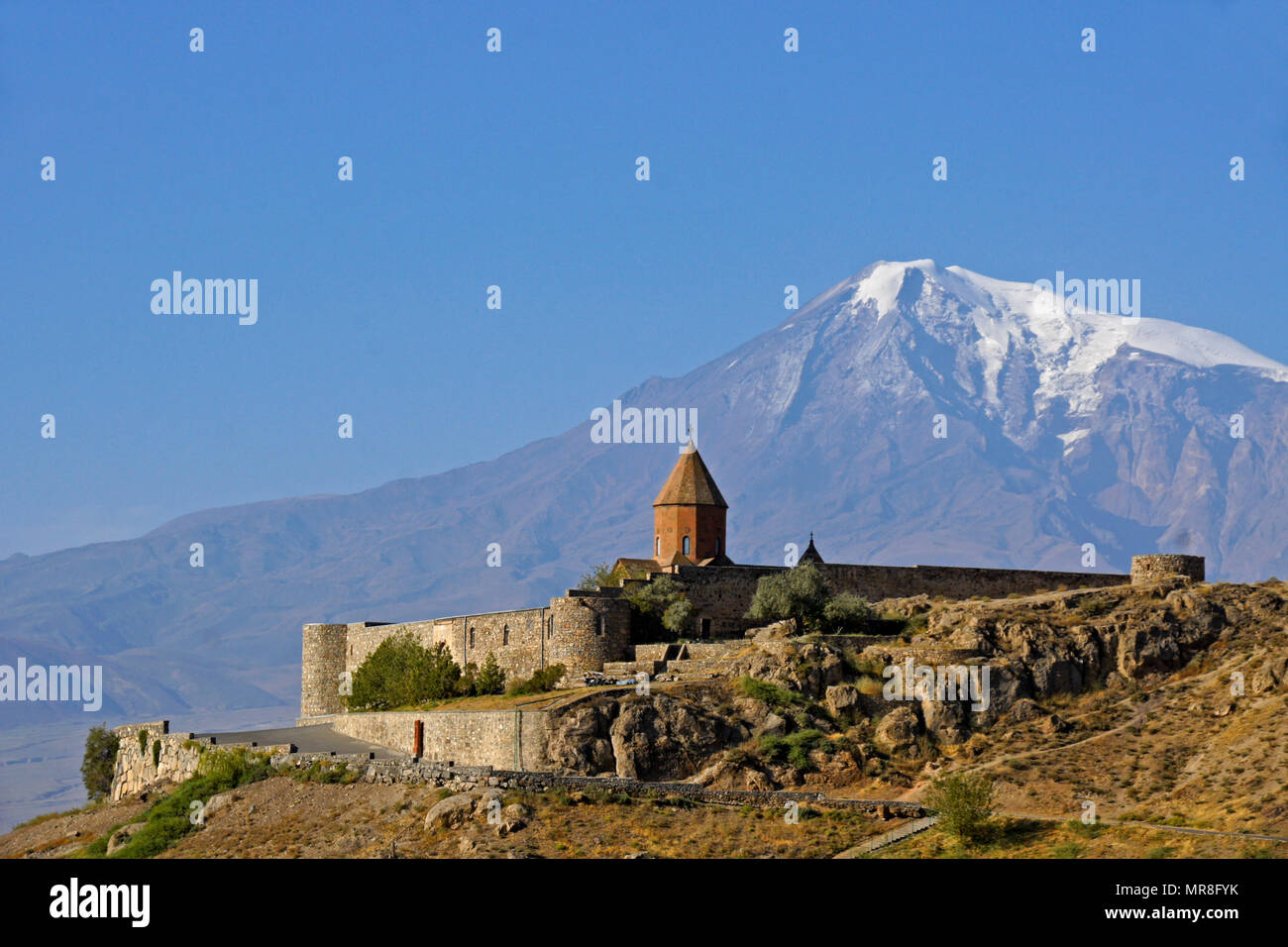 Khor Virap Monastery and Mount Ararat, Armenia - Stock Image
