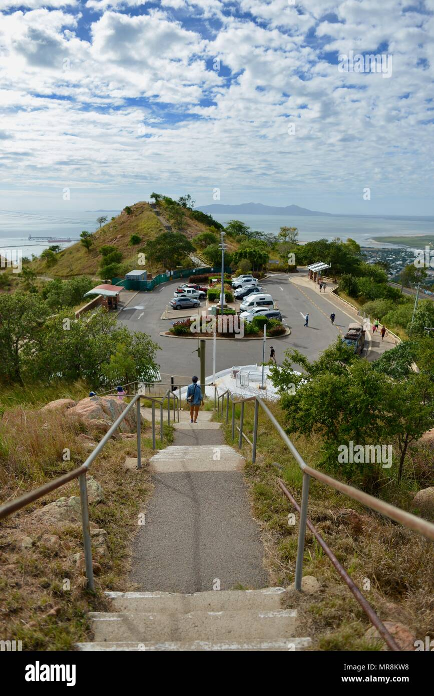View of the carpark on top of Castle Hill, QLD 4810, Australia - Stock Image