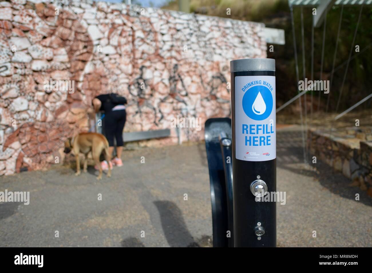 Refill here water tap dispenser, Castle Hill QLD 4810, Australia - Stock Image