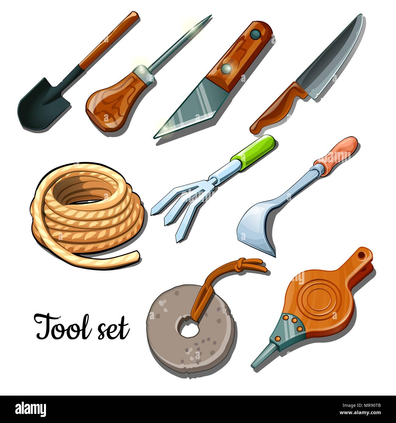 The universal set of tools and fixtures is isolated on a white background. Cartoon vector illustration close-up. - Stock Vector