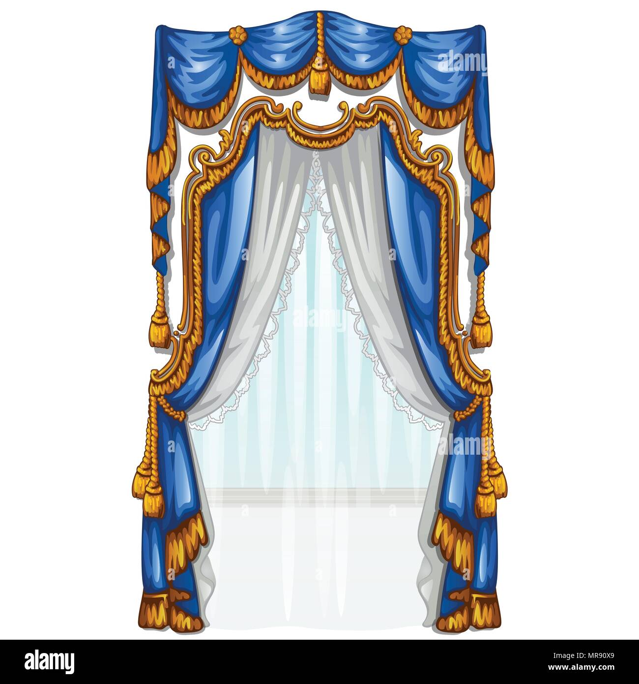 The ornate curtain in the interior. Vector illustration. - Stock Vector