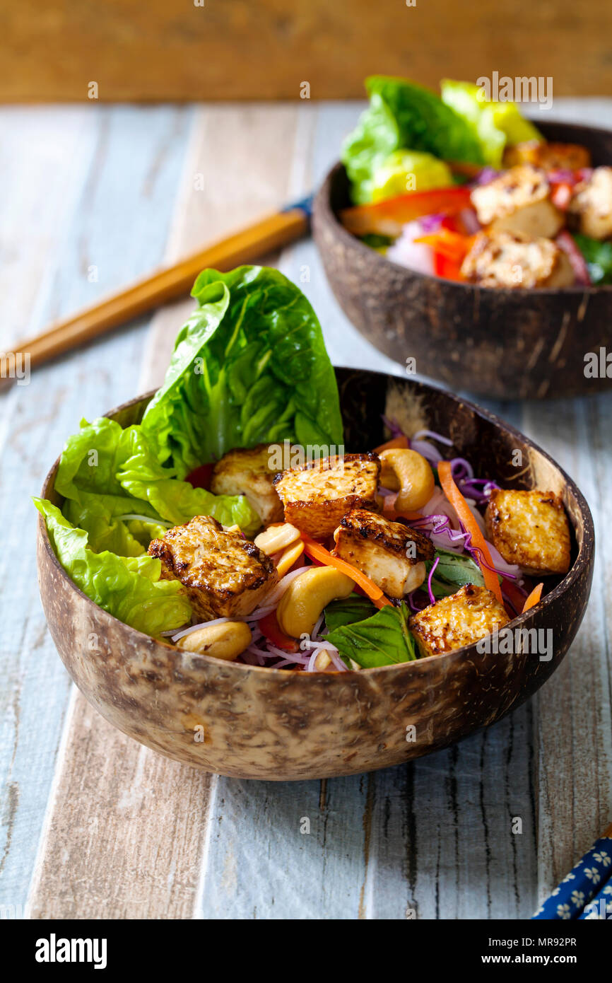 Vietnamese style salad with tofu and vermicelli noodles - Stock Image