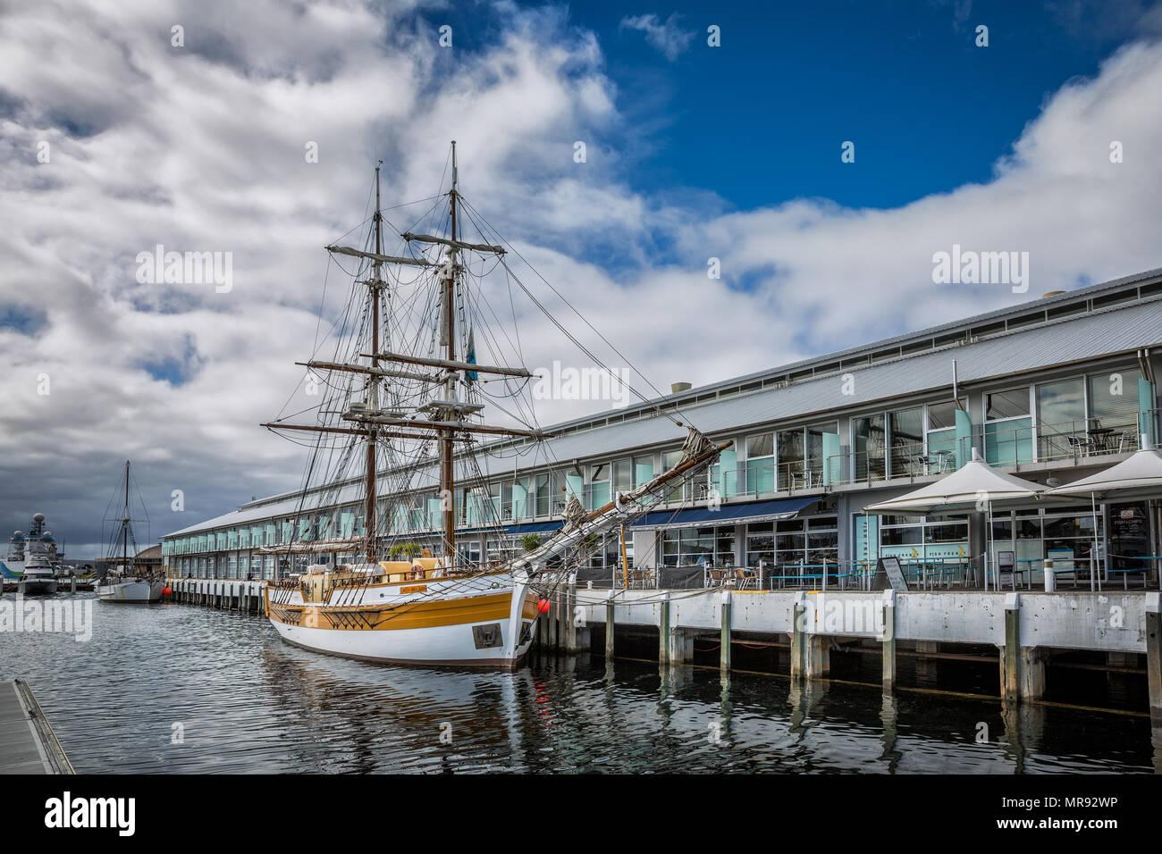 Twin masted sailing ship the Lady Nelson in Hobart, Tasmania, Australia Stock Photo