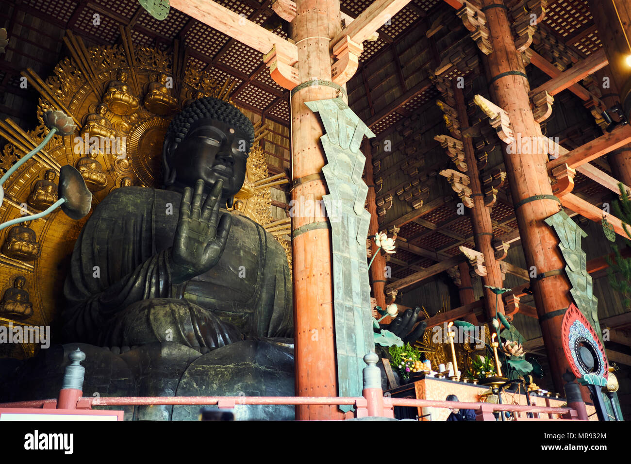 Buddha Statue at Todai-ji Temple in Nara, Japan Stock Photo