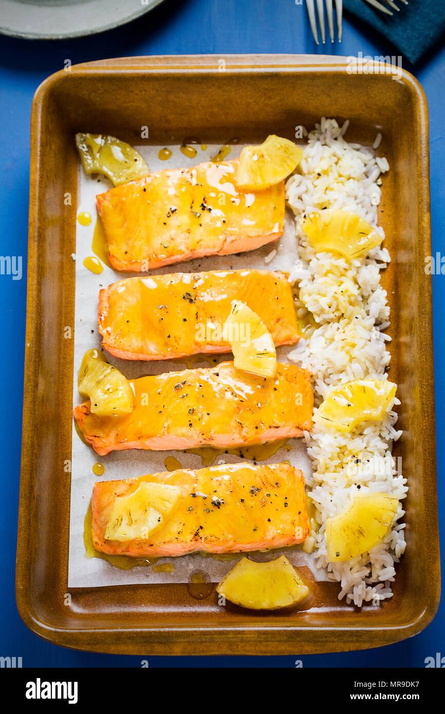 Hawaiian glazed salmon with pineapple & rice Stock Photo