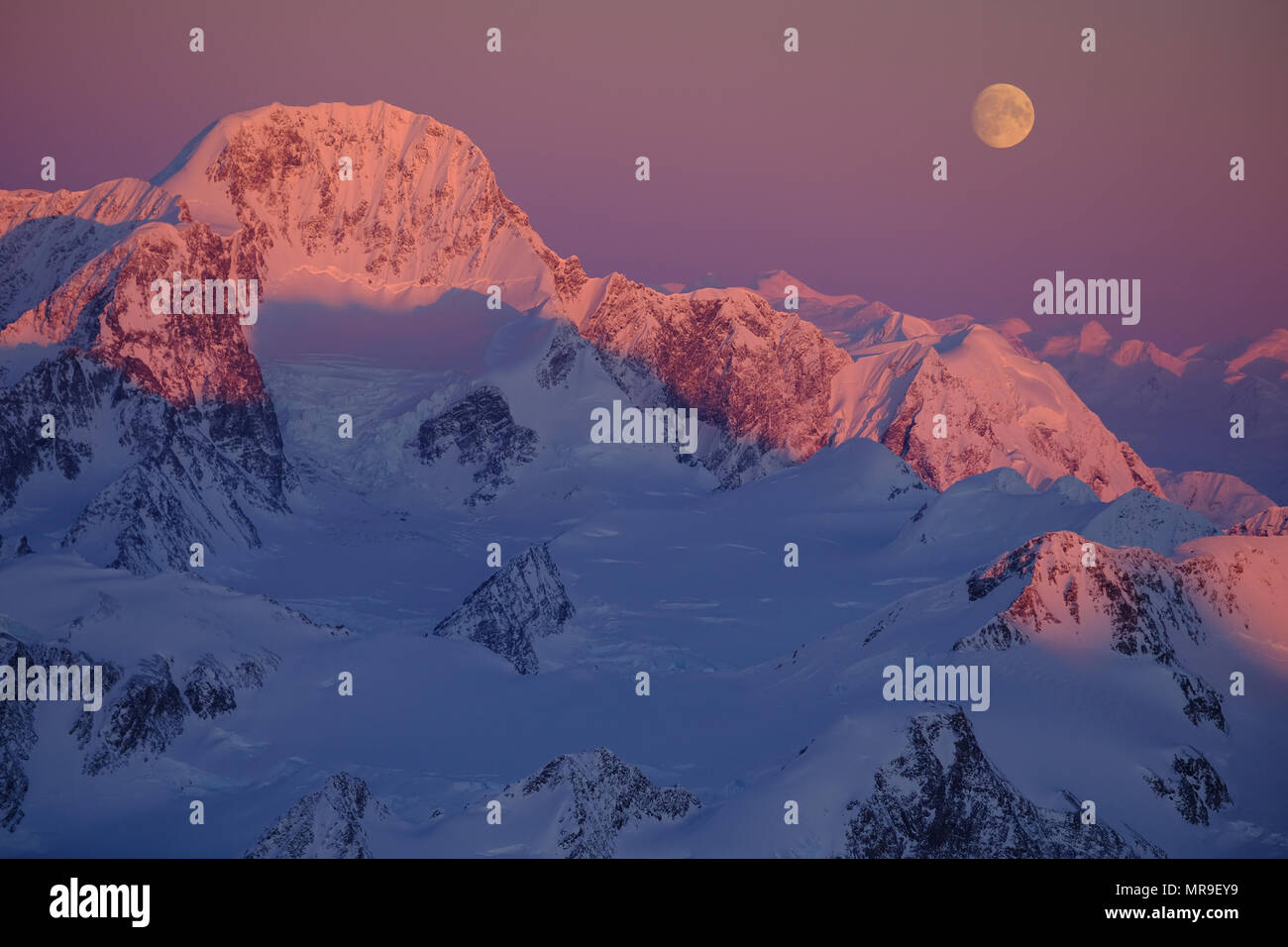 Moonrise over Mount Gilbert, Chugach Mountains, Alaska - Stock Image