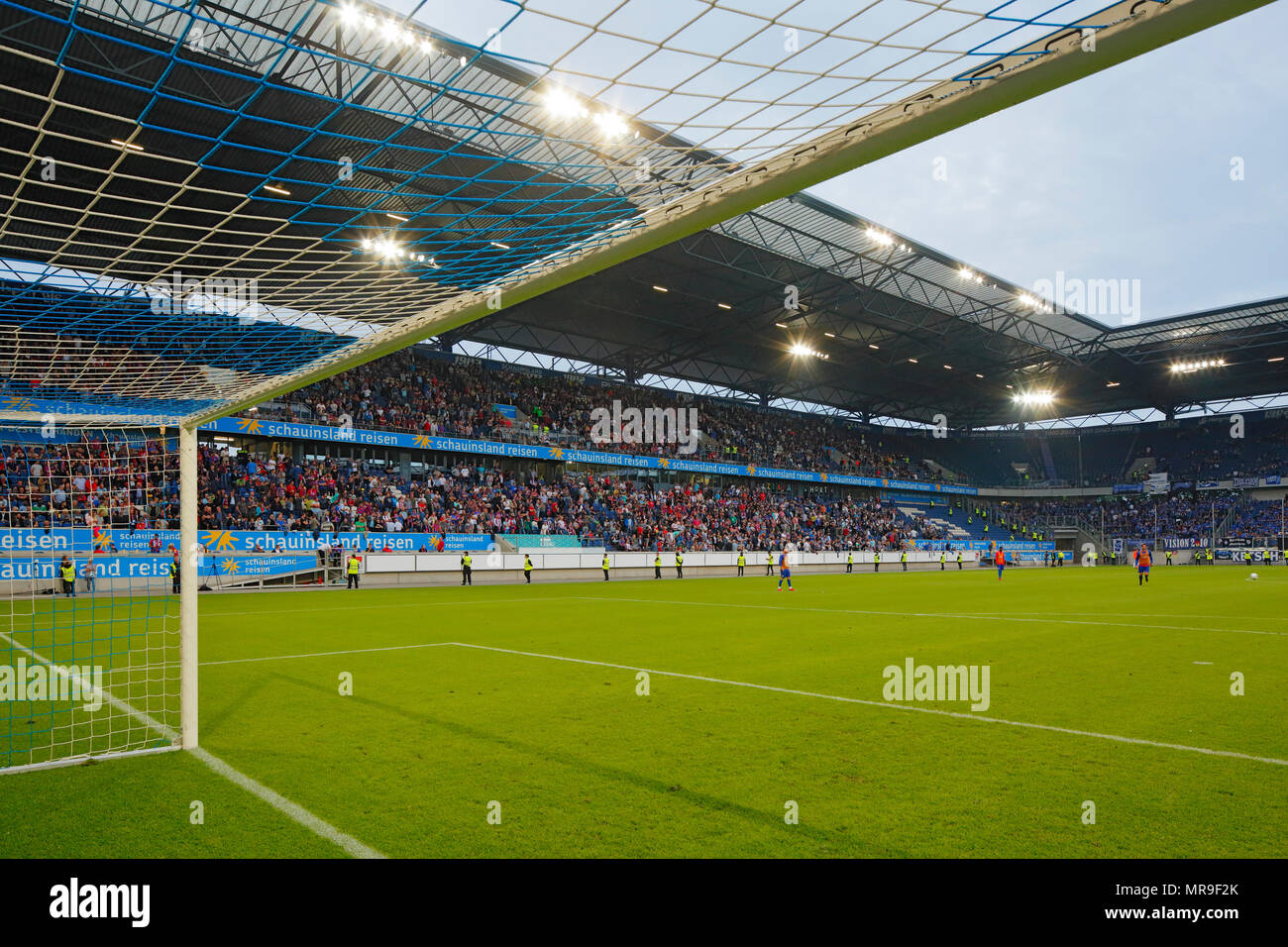 sports, football, Regional League West, Regional League Southwest, 2017/2018, relegation match to the 3. Bundesliga 2018/2019, first leg, Schauinsland Reisen Arena in Duisburg, KFC Uerdingen 05 vs SV Waldhof Mannheim 1:0, stadium view, stands, pitch, football goal, floodlight - Stock Image