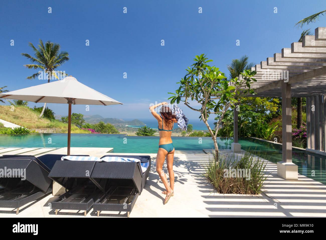 Infinity pool, Lombok - Stock Image