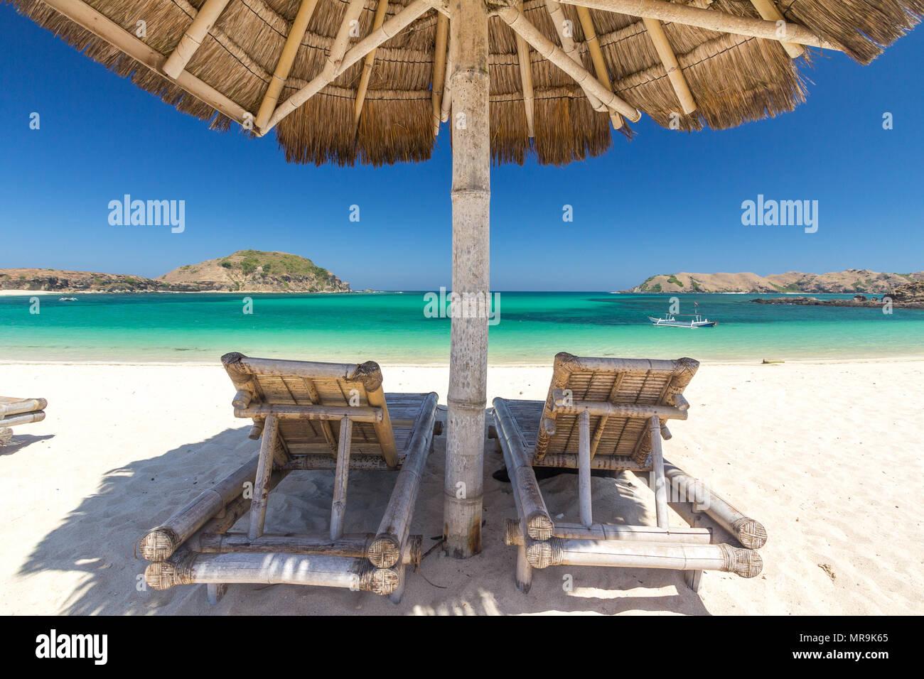 Beach umbrella, Indonesia - Stock Image