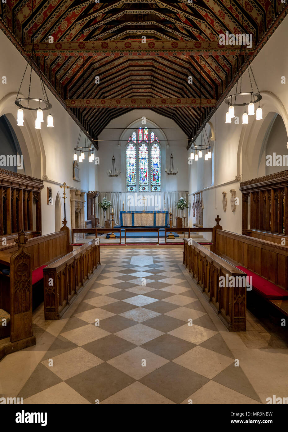 Interior of St Mary the Virgin church in village of Hambleden - Stock Image