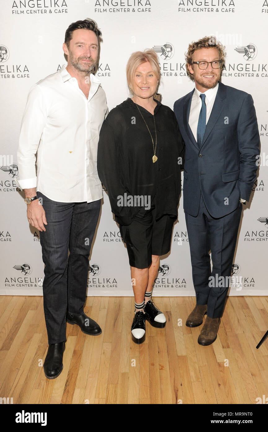 New York, NY - May 24, 2018: Hugh Jackman, Deborra-Lee Furness, Simon Baker attend special screening of Breath hosted by Deborra-Lee Furness and Hugh Jackman at Angelika Film Center - Stock Image