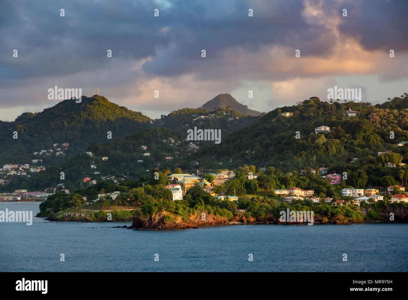 Evening sunlight over the tropical island of St Lucia, West Indies - Stock Image