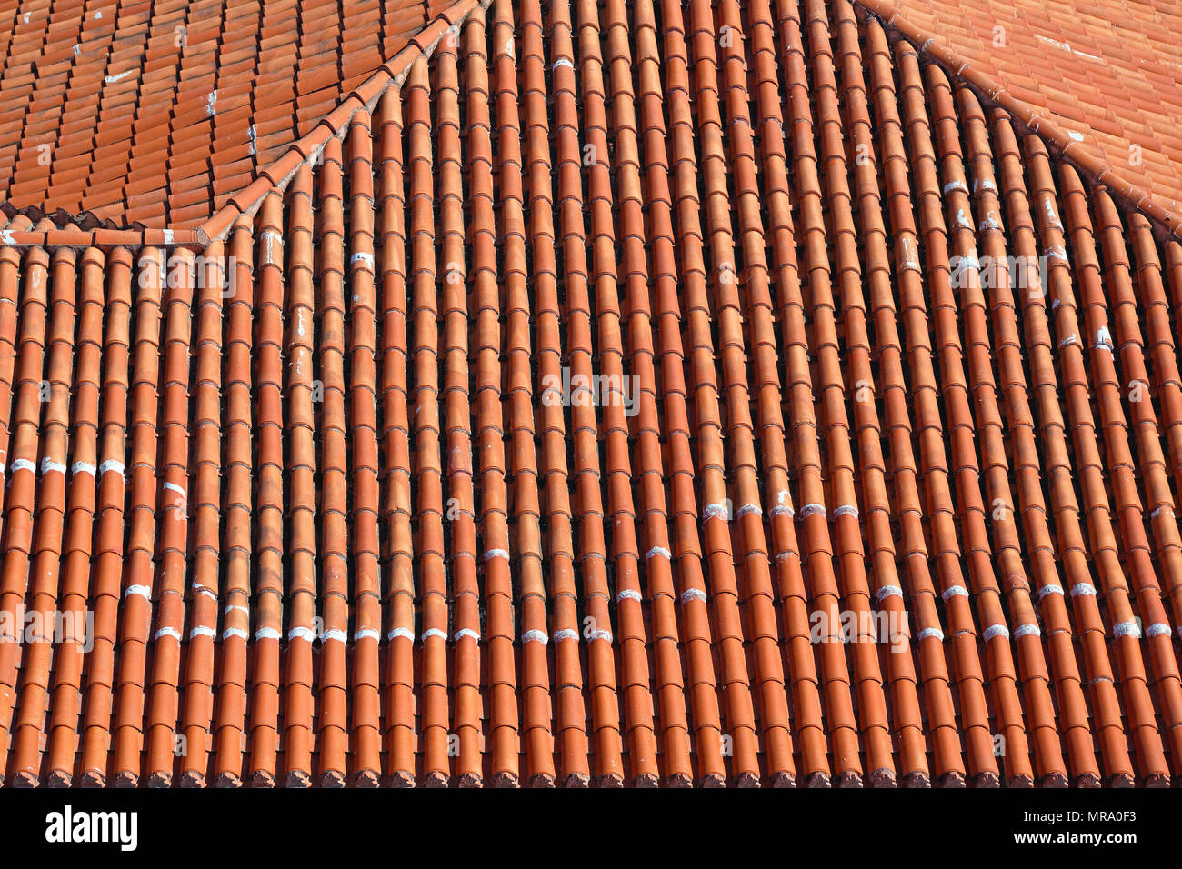 Terracotta Ceramic Roof Tiles From Above Stock Photo 186460711 Alamy