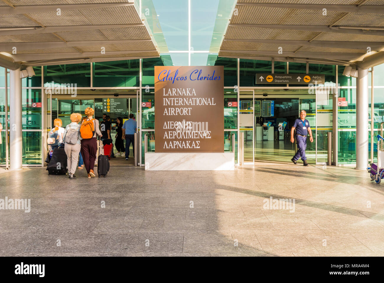 Larnaca, Cyprus. May 2018. A view of the entrance  at Larnaca airport, Cyprus, - Stock Image