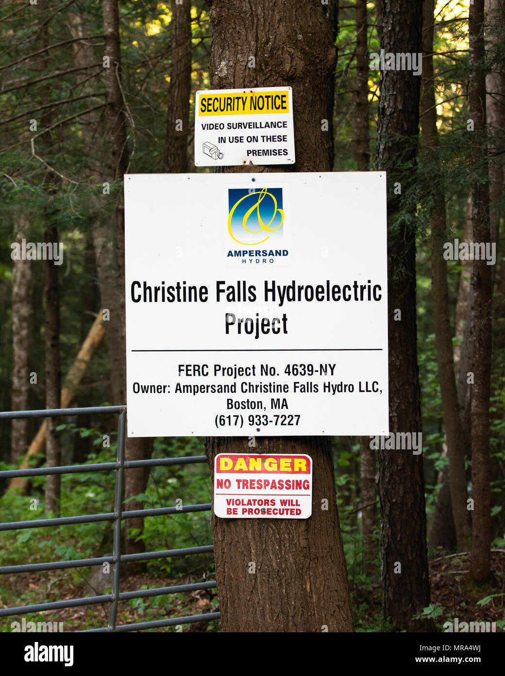Sign at the entrance to the Christing Falls Hydroelectric Project on the Sacandaga River in the Adirondack Mountains, NY USA - Stock Image
