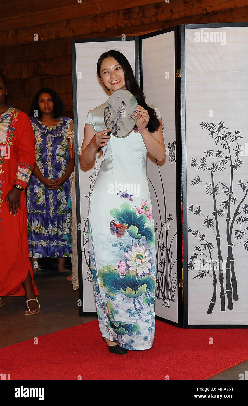 The Fashion Model In The Chinese Dress Waits For The Catwalk At The Asian American Pacific