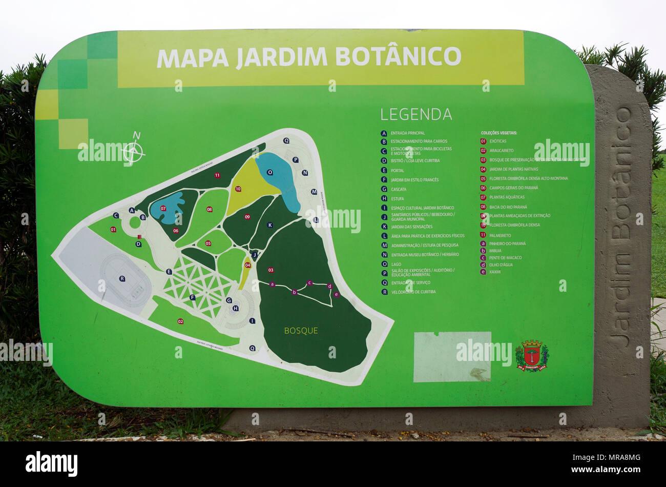 botanical garden map city Curitiba Brazil localization attraction information - Stock Image