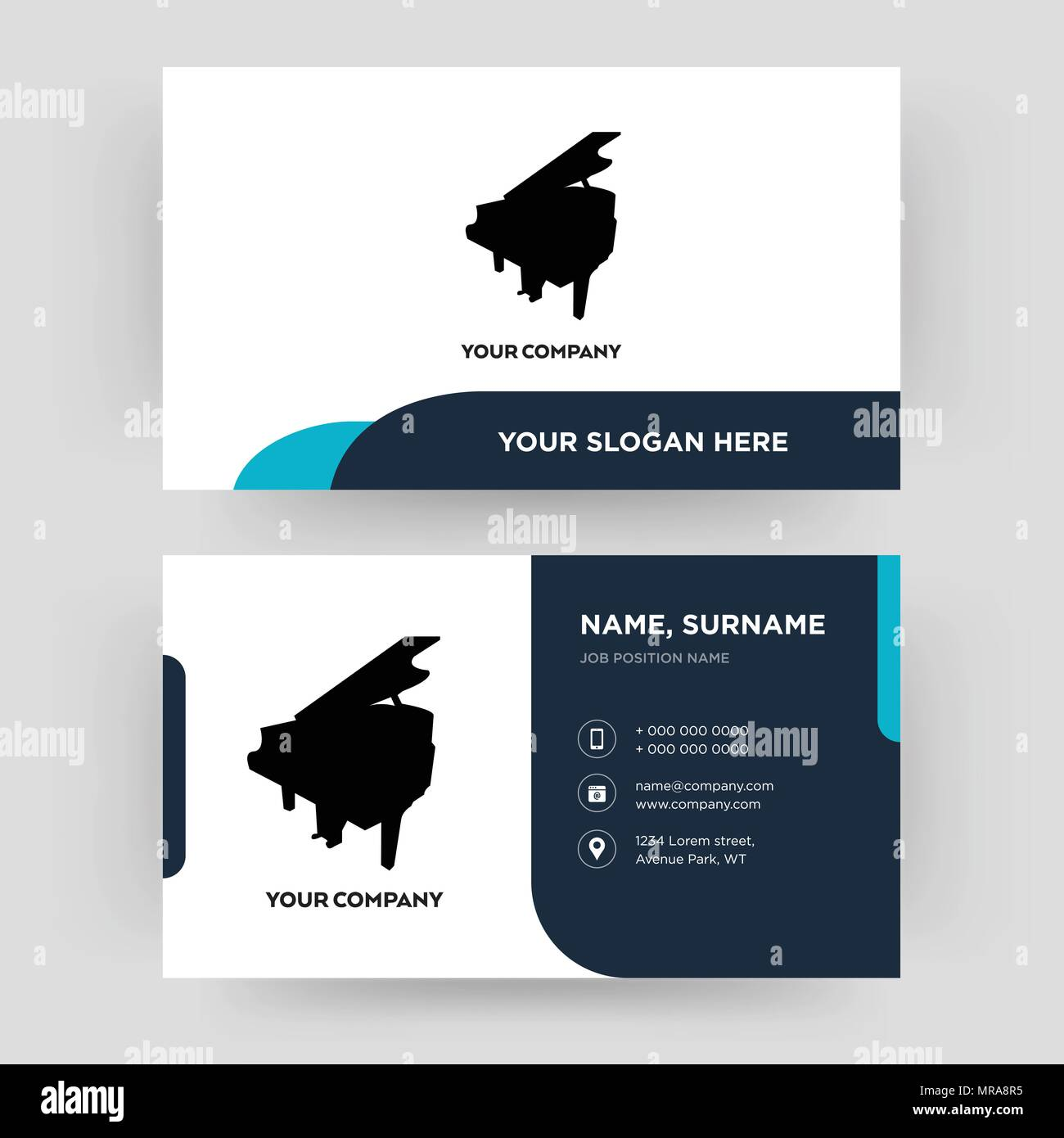 grand piano business card design template visiting for your