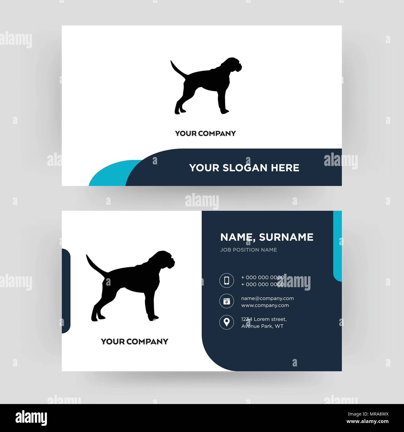 boxer dog, business card design template, Visiting for your company, Modern Creative and Clean identity Card Vector Stock Vector