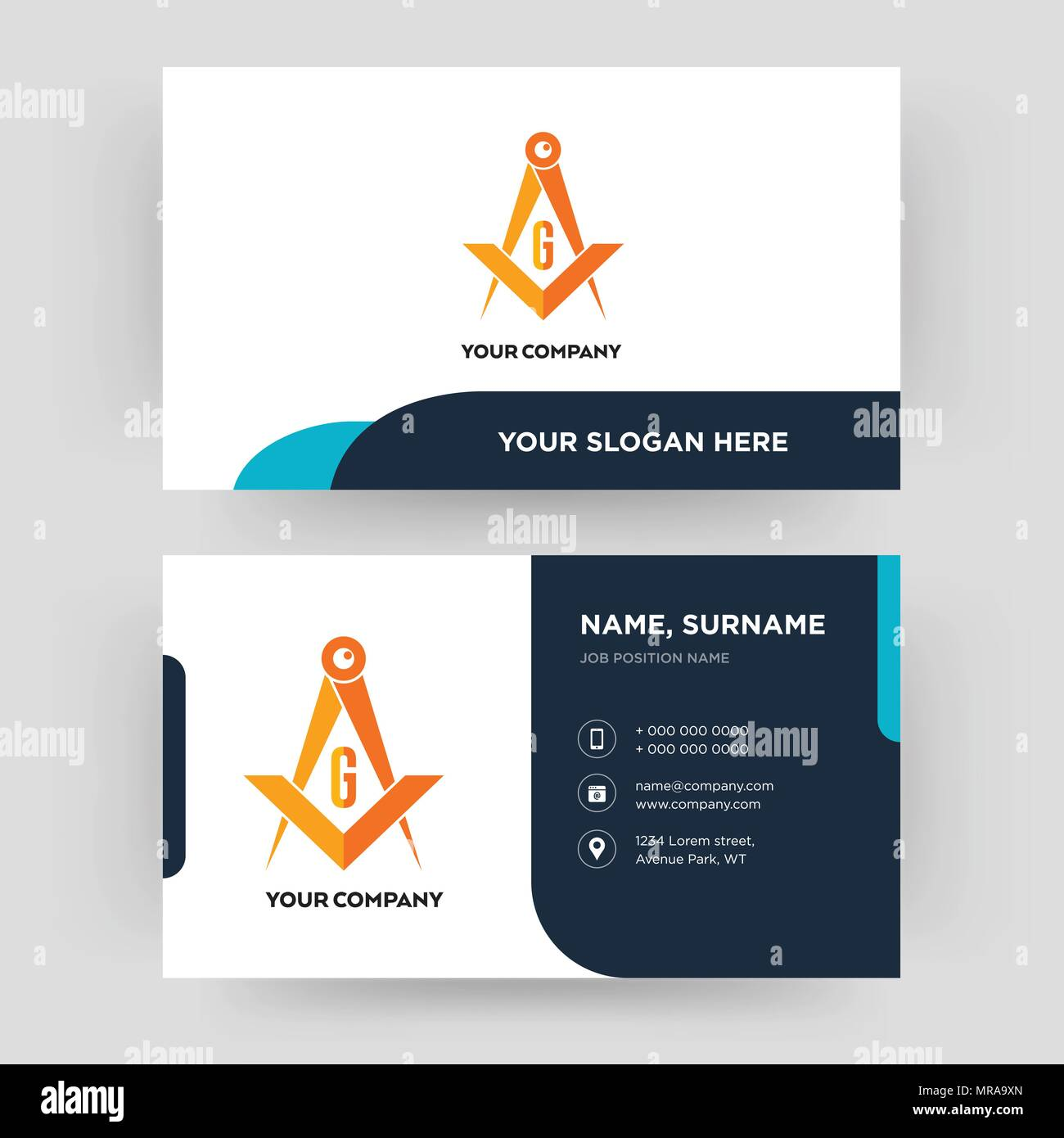 masonic, business card design template, Visiting for your company ...
