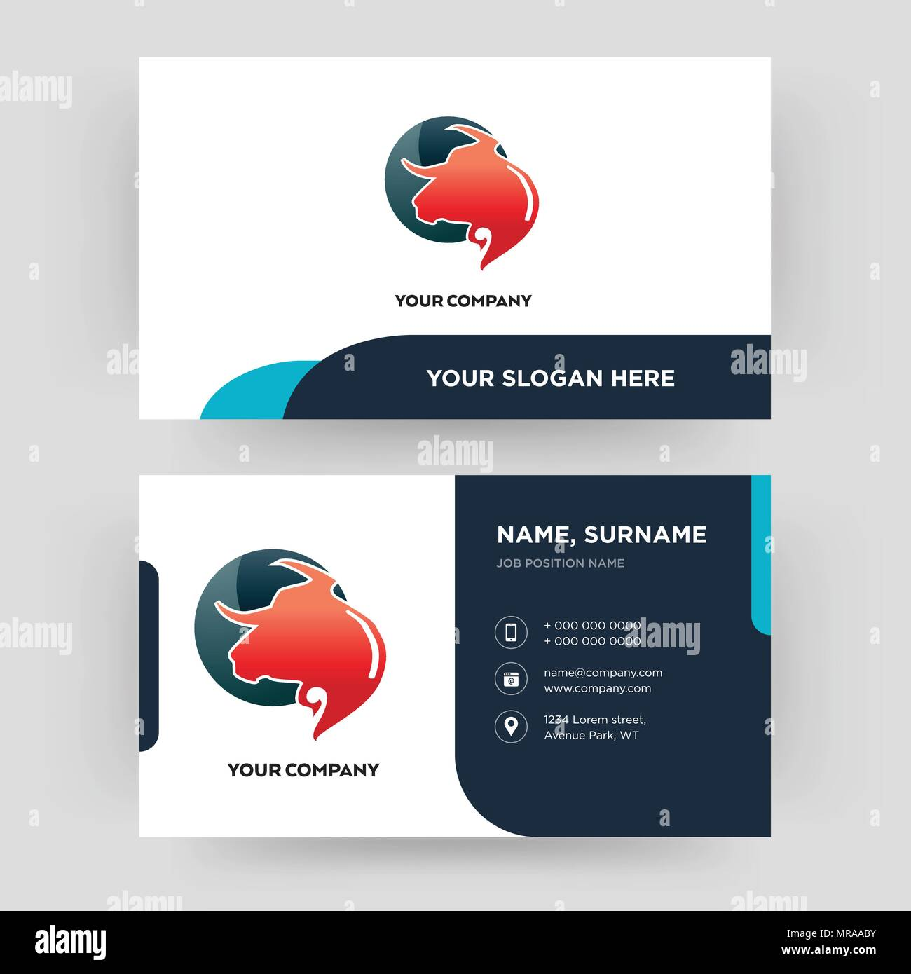 taurus professional business card design template visiting for