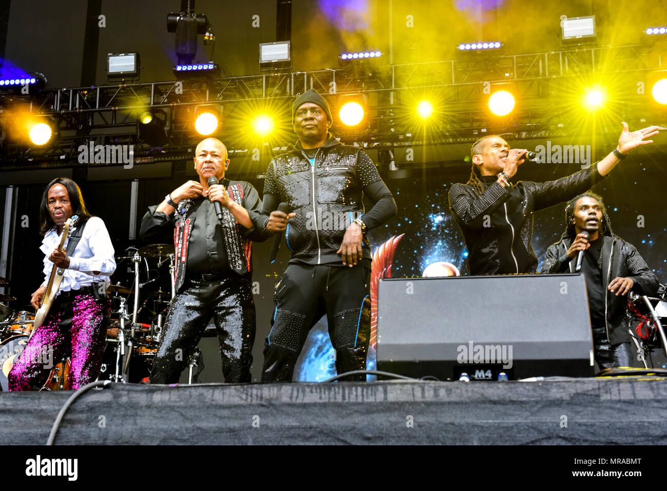 Napa Valley, California, May 25, 2018, Earth Wind and Fire on the Jam Cellars Stage at the 2018 BottleRock Festival in Napa California, Credit: Ken Howard/Alamy Live News - Stock Image