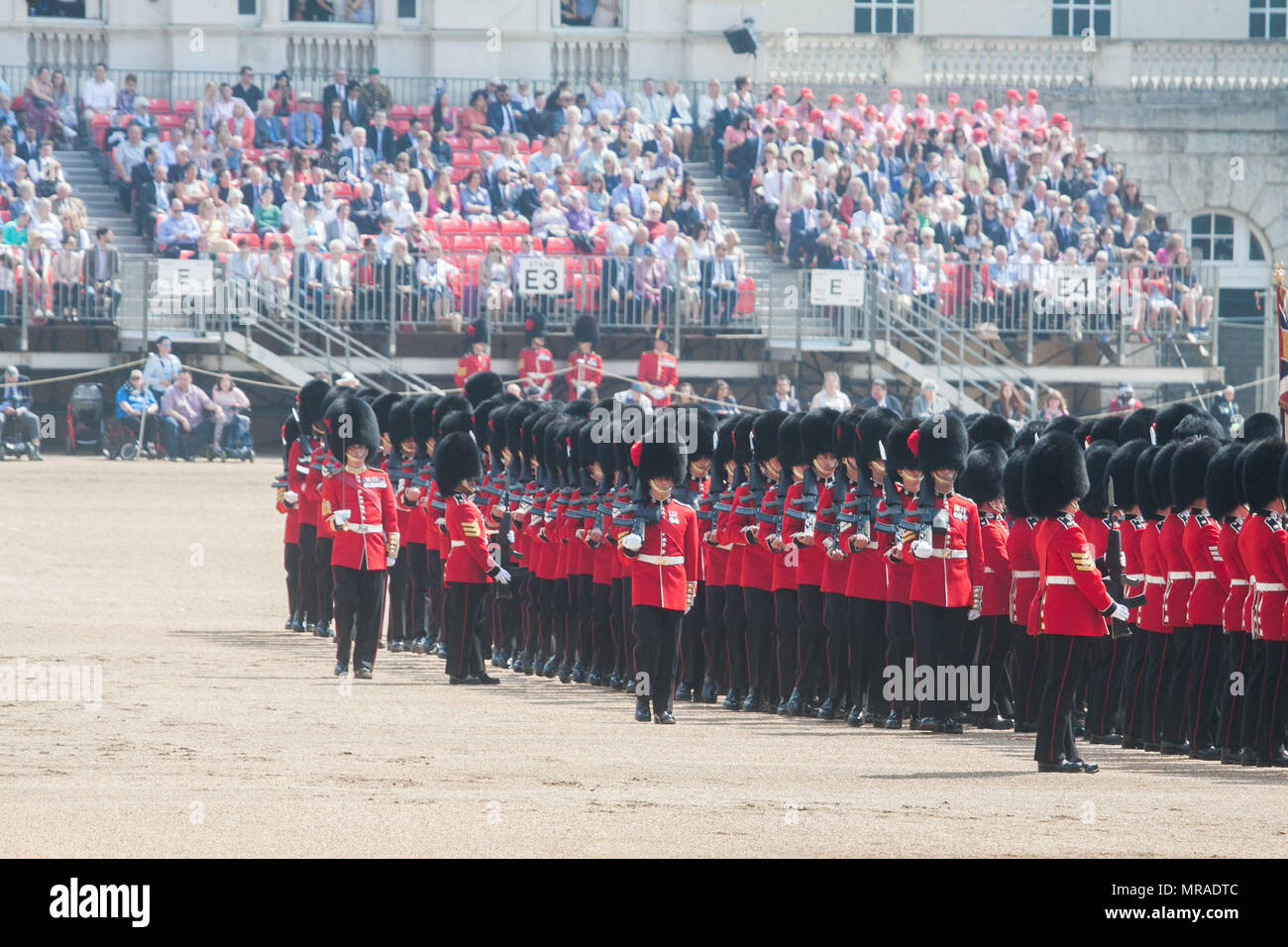 London UK. 26th May 2018. The Major General's Review, the first rehearsal for the Trooping the Colour parade on the Queen's official birthday is held in sweltering heat Credit: amer ghazzal/Alamy Live News Stock Photo