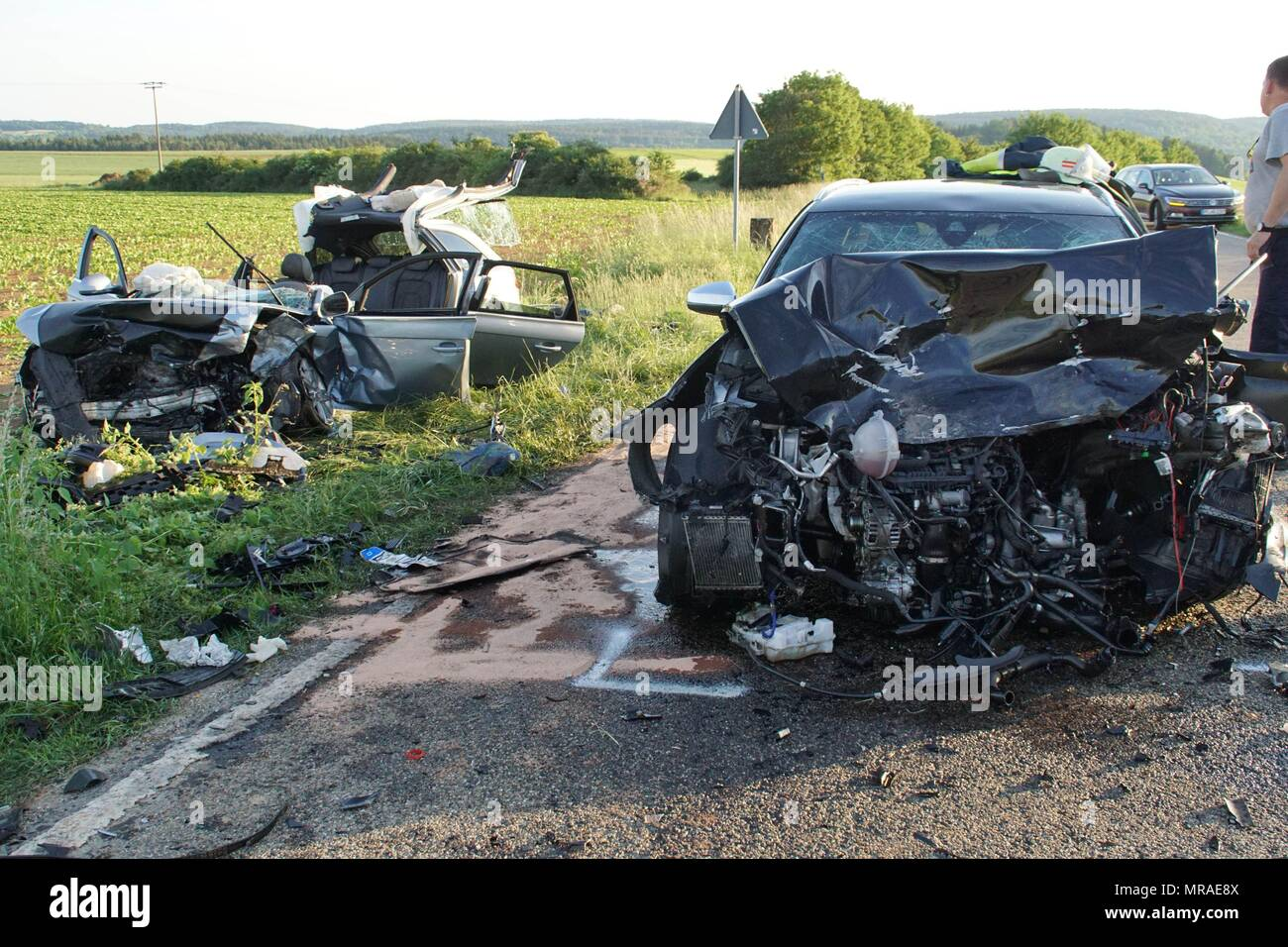 25 May 2018, Germany, Malsheim: Two car wrecks stand on the