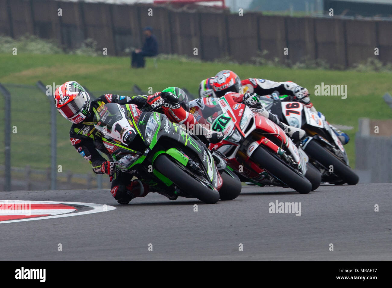 Donington Park Circuit, Derby, UK. 26th May, 2018. World Superbikes, Prosecco DOC UK Round 6 Qualifying; Jonathan Rea riding a Kawasaki Racing Team WorldSBK Kawasaki ZX-10RR ahead of Eugene Laverty riding a Milwaukee Aprilia RSV4 and Loris Baz riding a Gulf Althea BMW Racing Team BMW S 1000 RR Credit: Action Plus Sports/Alamy Live News Stock Photo