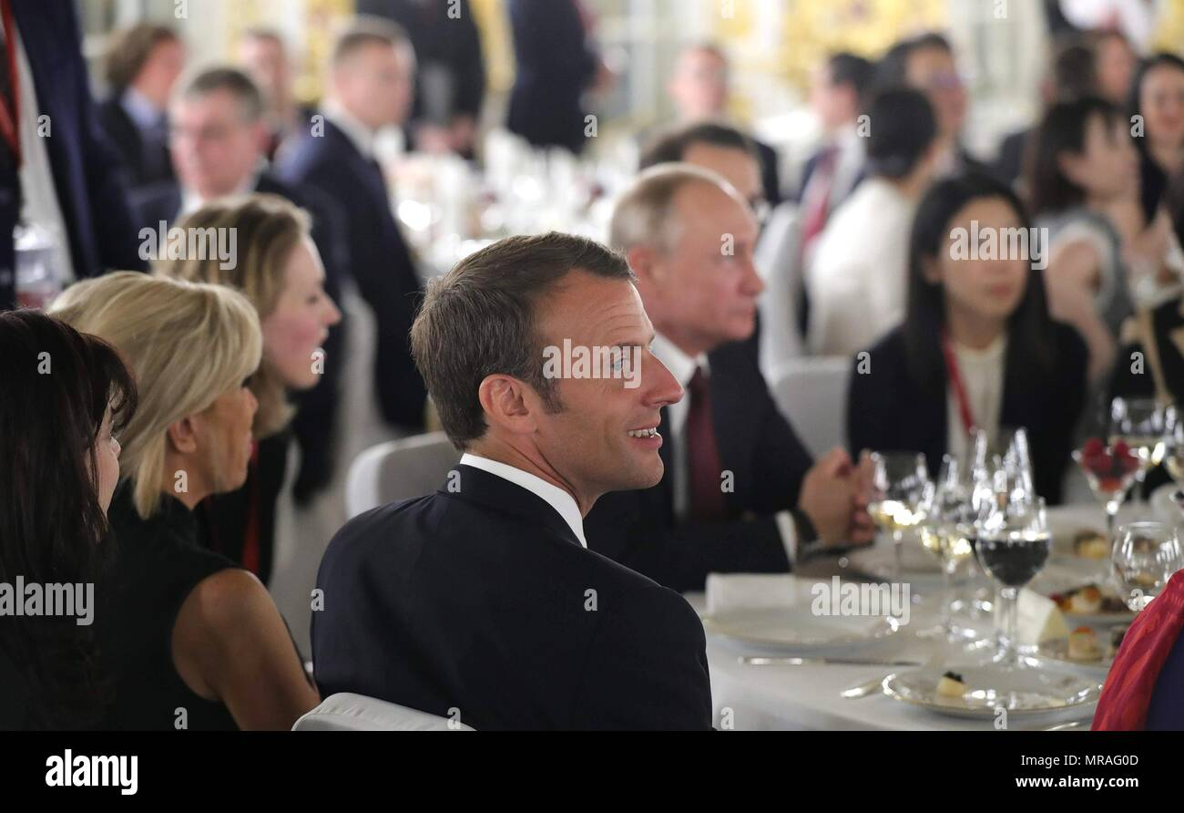 St. Petersburg, Russia, 25 May 2018. French President Emmanuel Macron during the Stars of the White Nights Gala at Tsarskoe Selo May 25, 2018 outside St. Petersburg, Russia.  The Stars of the White Nights is an annual ballet, opera and classical music festival.   (Russian Presidency via Planetpix) Credit: Planetpix/Alamy Live News - Stock Image