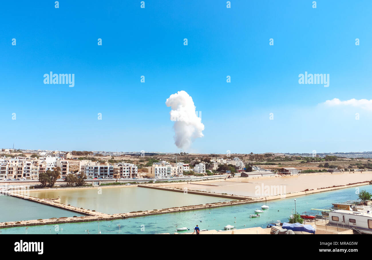 The explosion of the fireworks factory in Malta, 3:15pm 26 may 2018 - Stock Image