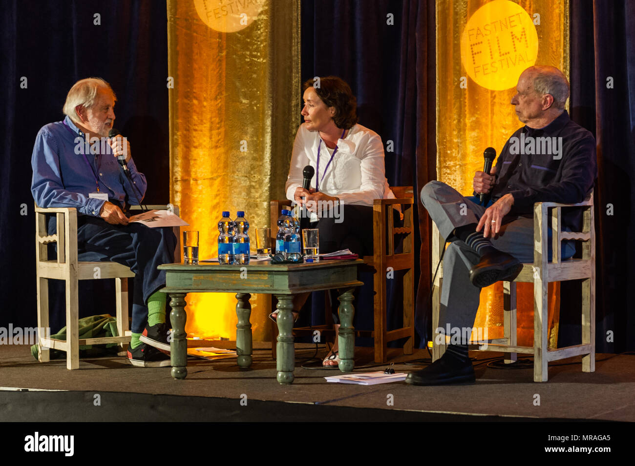 Schull, Ireland. 26th May, 2018. As part of the film festival, film producer Lord David Puttnam (far left) is pictured in conversation with Gwenda Young and Sandy Lieberson in a talk called 'Battle of the Sexes' which discussed gender parity. The festival runs until Sunday. Credit: Andy Gibson/Alamy Live News. - Stock Image
