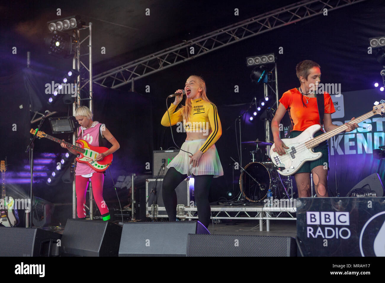 Dream Wife is a British punk rock band originally from Brighton consisting of Rakel Mjöll, Alice Go, and Bella Podpadec. Their debut album Dream Wife was released on 26 January 2018. They performed songs from that album at BBC6 Music's Biggest Weekend event held at Belfast's Titanic Slipway, Northern Ireland. 26 May 2018. Credit: Darron Mark/Alamy Live News Stock Photo