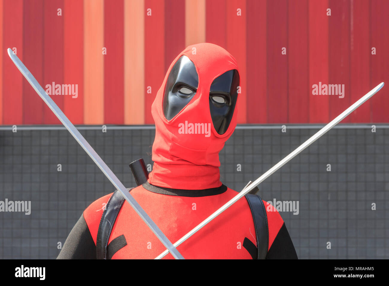 ExCel, London, 26th May 2018  A cosplayer poses as Deadpool