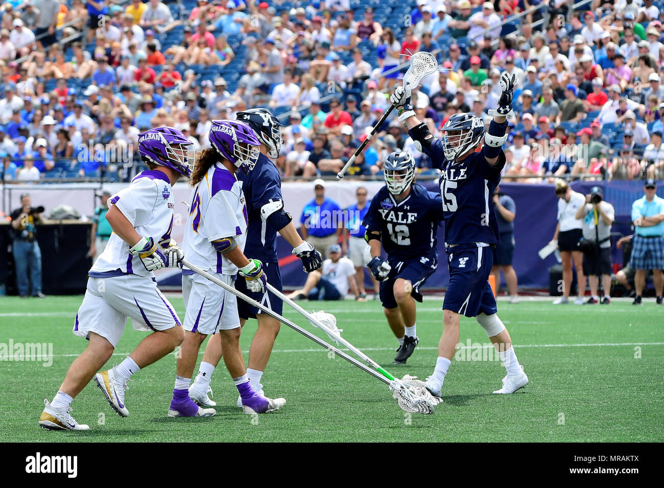 Caption Correction***.May 26, 2018: Yale Bulldogs attackman Jackson Morrill (15) celebrates a goal during the NCAA Division I Lacrosse semi final between Yale and Albany, held at Gillette Stadium, in Foxborough, Mass. Yale defeats Albany 20-11. Eric Canha/CSM.Corrects mis-identified Yale #15 - Stock Image