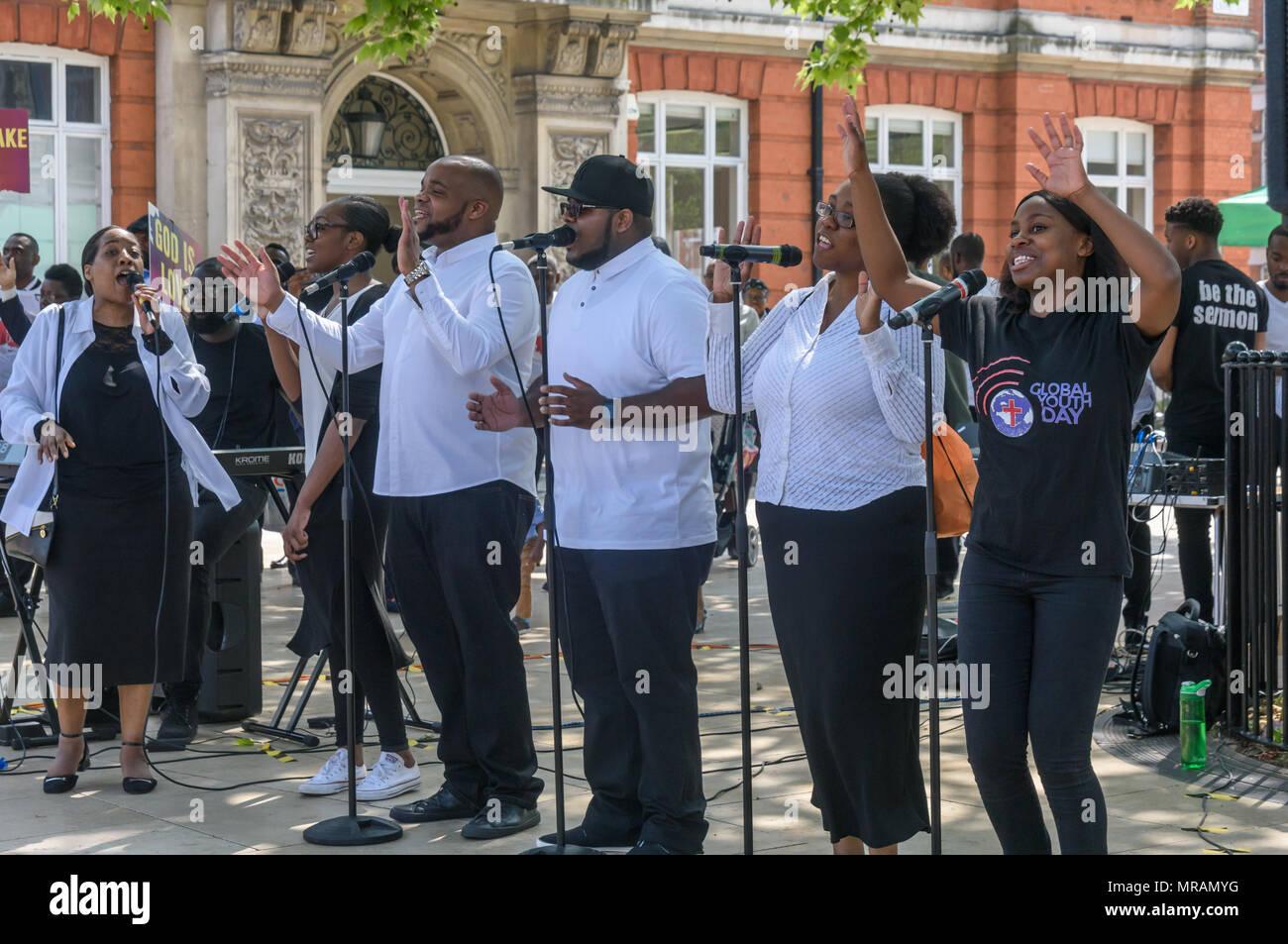 London, UK  26th May, 2018  A gospel choir sings at the Brixton