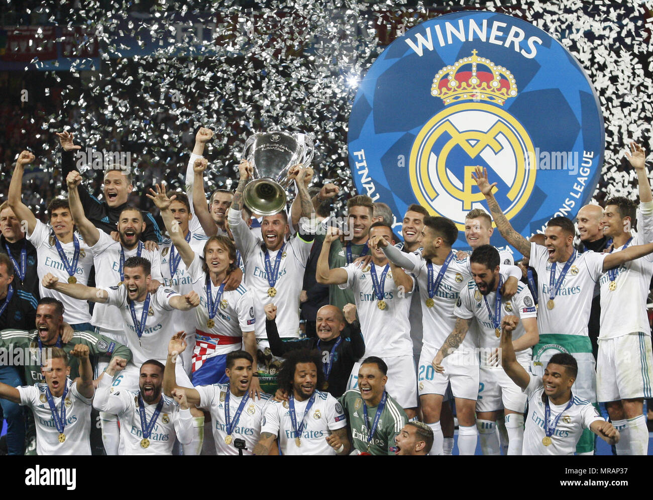 Kiev, Ukraine. 26th May, 2018. Real Madrid players celebrate with the trophy after winning the UEFA Champions League final soccer match Real Madrid vs Liverpool FC, at the NSC Olimpiyskiy stadium in Kiev on 26 May 2018. Credit: Serg Glovny/ZUMA Wire/Alamy Live News Stock Photo