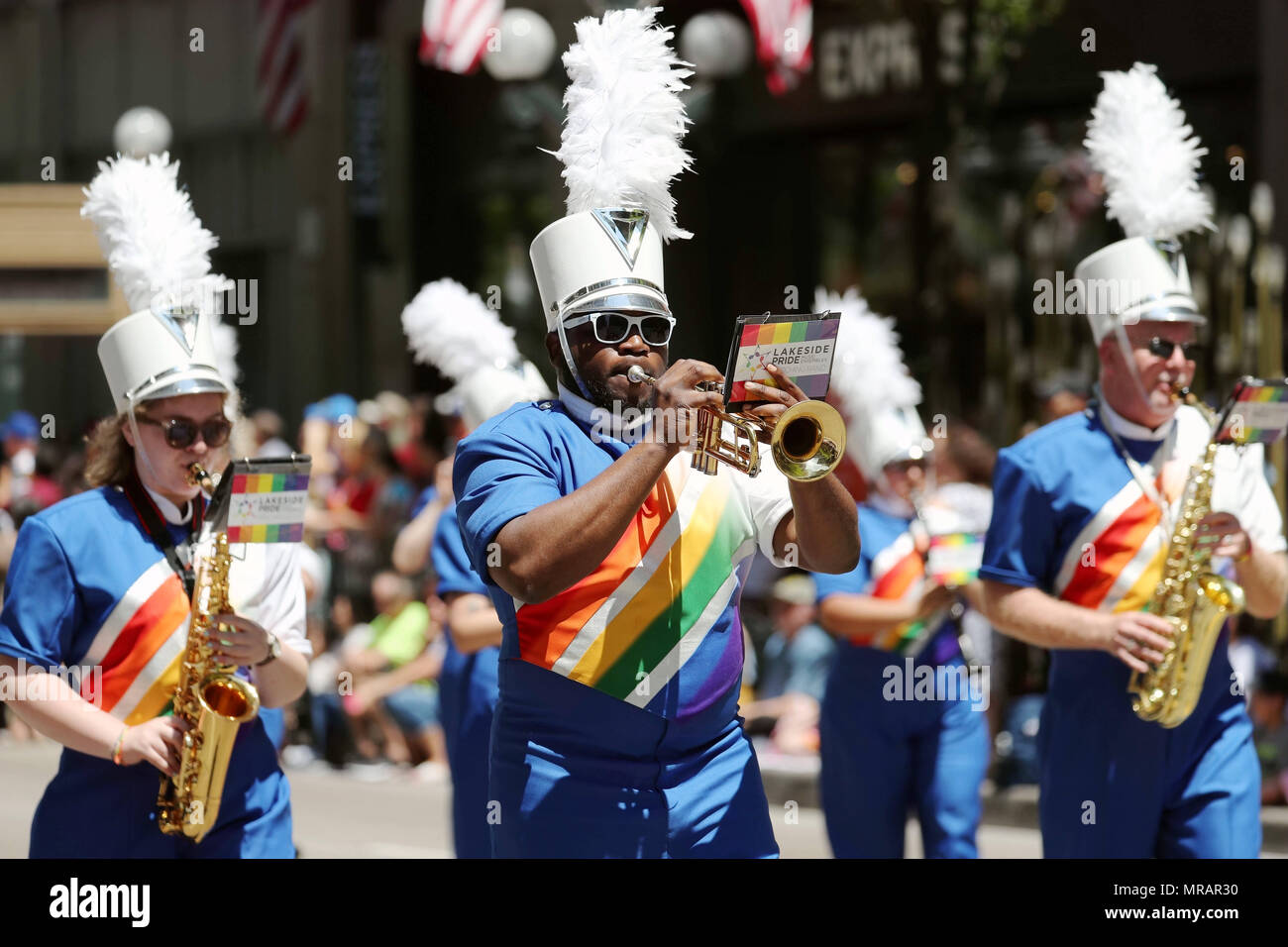 Chicago, USA. 26th May, 2018. Participants take part in the Memorial Day Parade in Chicago, the United States, on May 26, 2018. The Memorial Day is a federal holiday in the United States for remembering people who died in the country's armed forces. Credit: Wang Ping/Xinhua/Alamy Live News Stock Photo