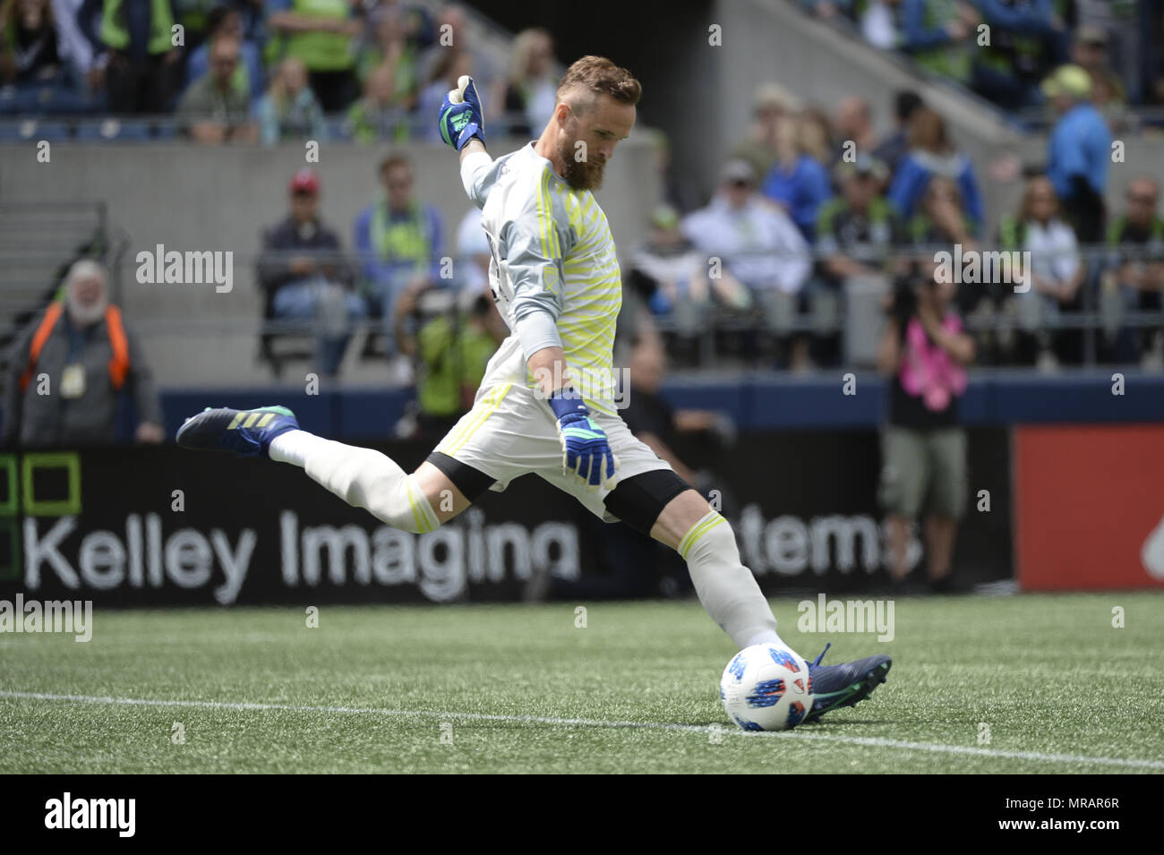 Seattle, Washington, USA. 26th May, 2018. MLS Soccer 2018: Seattle goalie STEFAN FREI in action as Real Salt Lake visits the Seattle Sounders in a MLS match at Century Link Field in Seattle, WA. RSL won the match 1-0. Credit: Jeff Halstead/ZUMA Wire/Alamy Live News - Stock Image