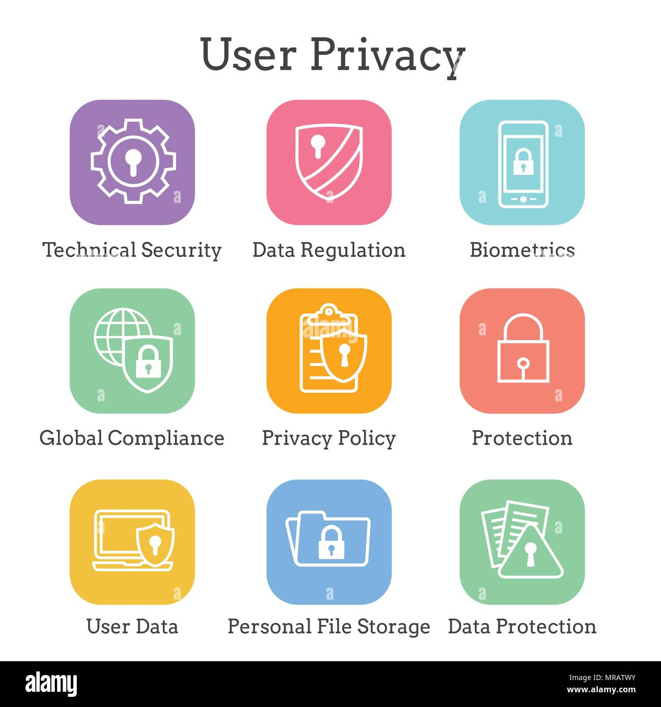 Privacy Policy Concept Stock Photos Data Security Gdpr Icon Set With Locks Padlocks And Shields Image