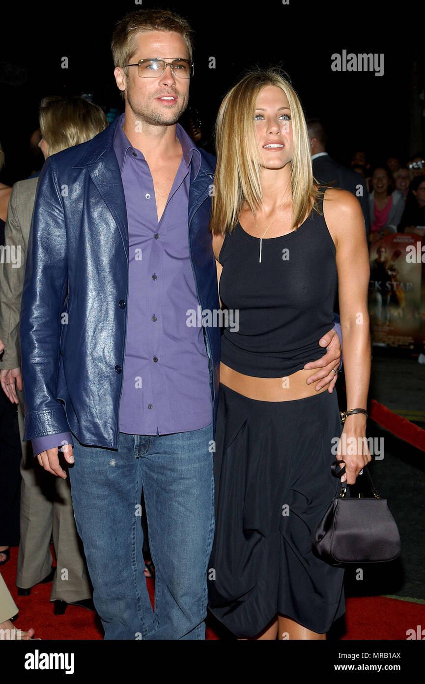 Jennifer Aniston and Brad Pitt arriving at the Rock Star