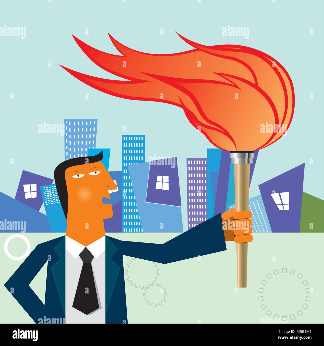 Businessman holding a torch in the street - Stock Vector