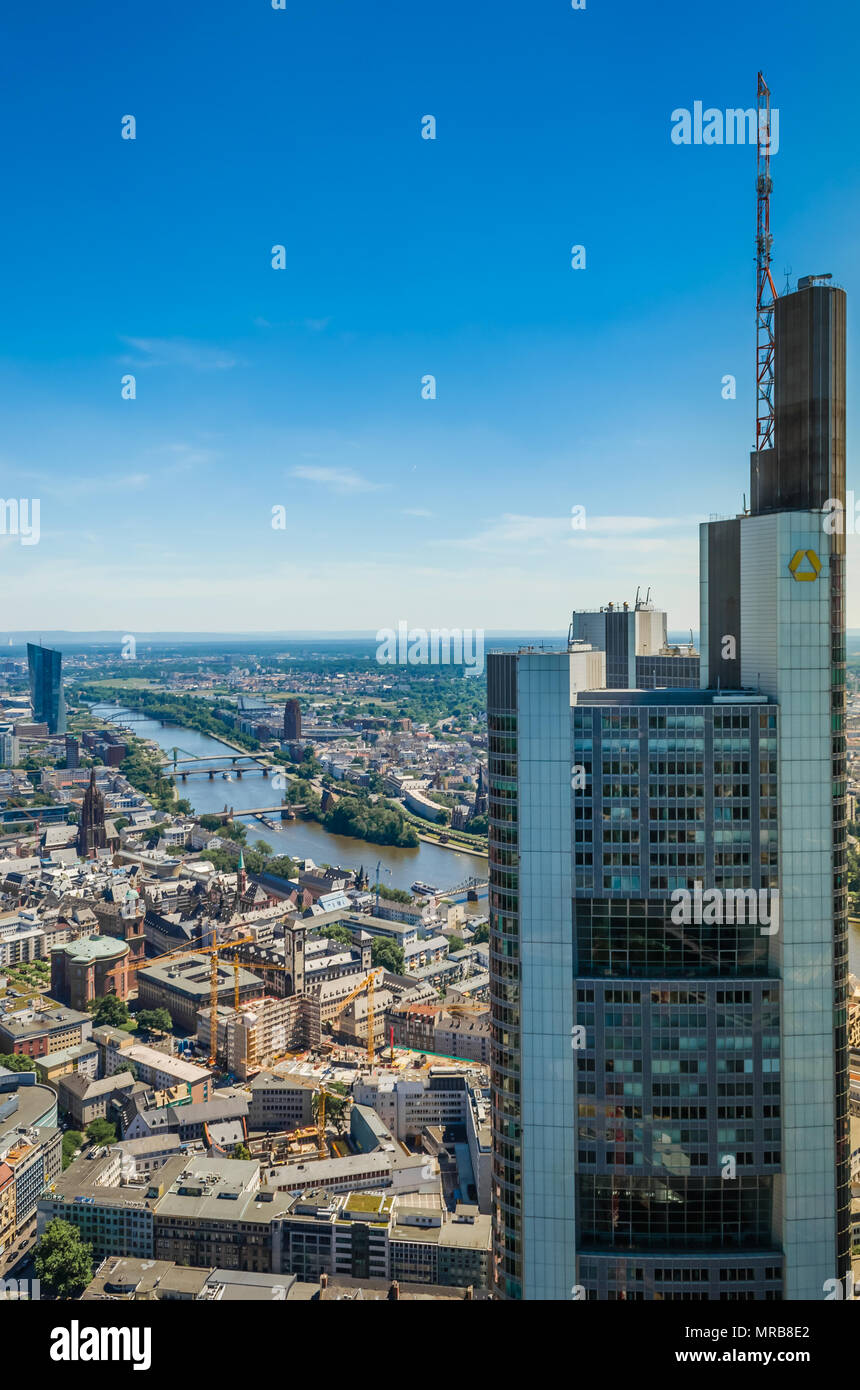 Aerial View of Commerzbank Tower in Frankfurt Stock Photo